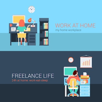 Set of young man woman home office freelance homework laptop table workplace back view. flat people lifestyle situation work at home concept.  illustration collection of young creative humans.