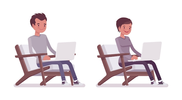 Set of young man and woman sitting with laptop