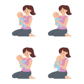 Set of young mother holding sad baby with different actions in flat cartoon style