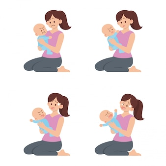 Set of young mother sitting and holding angry baby with different actions in flat cartoon style