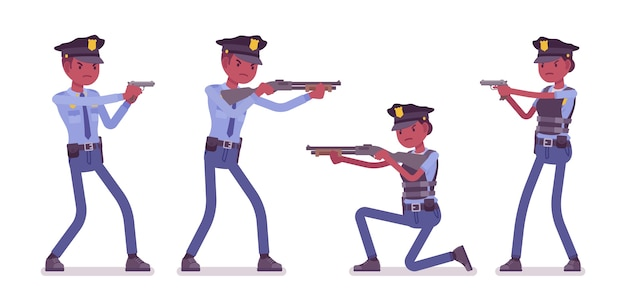 Set of young officers with guns