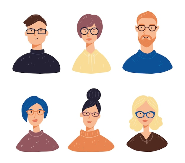 Set of young people charactar avatars with different hair, clothes, glasses. people have smiling faces.