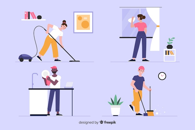 Set of young people cleaning the house