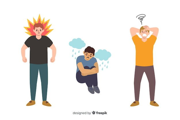 Set of young people emotions