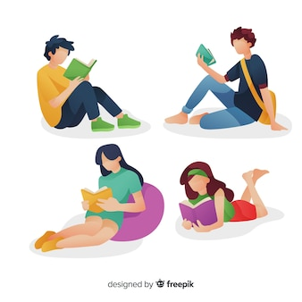 Set of young people reading