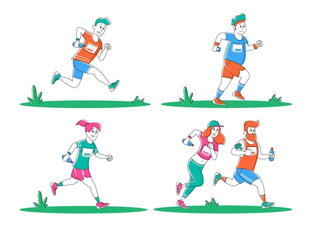 Set of young people running city marathon distance