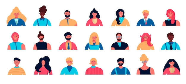 Set of young people's avatar with different races