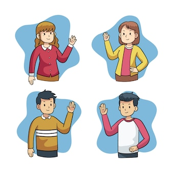 Set of young people waving hand