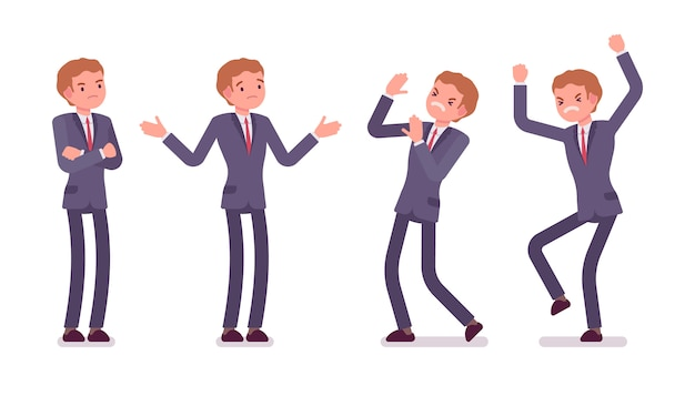 Set of young standing businessman showing negative emotions, different poses