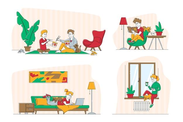 Набор персонажей молодой женщины и ее кошки