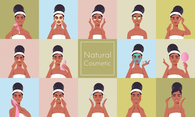 Set young woman applying face mask dressed in towel african american girl cleaning and care her face skincare spa makeup facial treatment natural cosmetic concept portrait horizontal Premium Vector