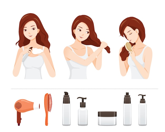 Set of young woman care and treatment her hair with hair treatment objects