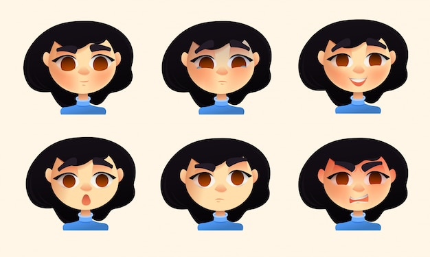 Set of young woman emotions