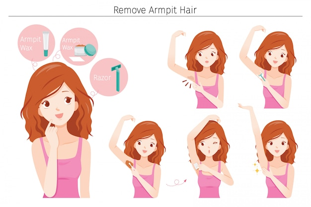 Set of young woman remove her armpit hair