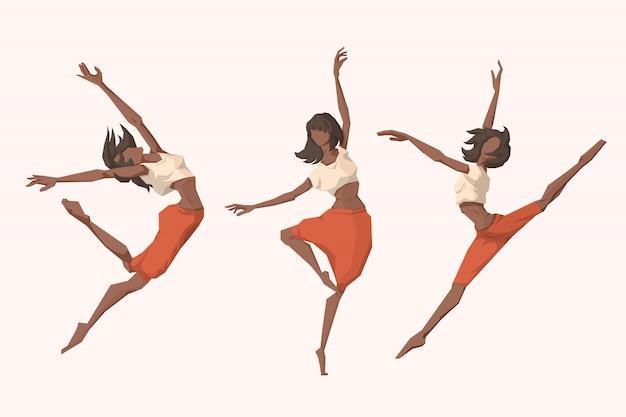 Set of young women dansing