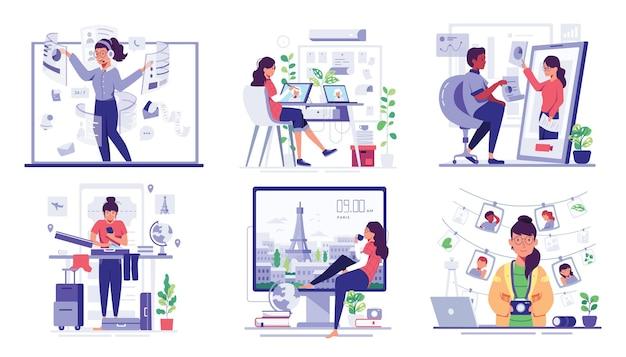 집에서 작업하는 동안 젊은 작업자 사용 컴퓨터와 인터넷, 만화 캐릭터 스타일의 통신 네트워크, 평면 그림 desing 설정