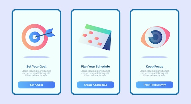 목표를 설정하고 일정을 세 가지 변형 현대 평면 스타일로 모바일 앱 템플릿 배너 페이지 ui에 집중하세요.