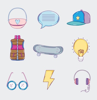 Set of youth culture icons cartoons vector illustration graphic design