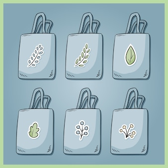 Set of zero waste cotton bags. bring your own bag every day. ecological and plastic free collection of bags. go green