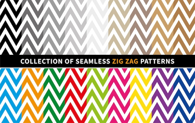 Set of zig zag seamless vector patterns perfect for christmas and new year greeting cards