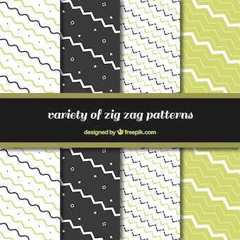 Set of zigzag patterns with green details