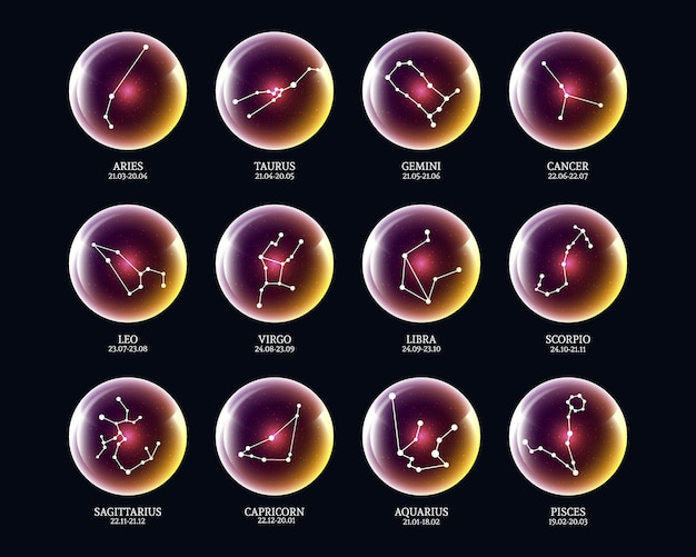 Set of zodiac constellation signs in luminous balls