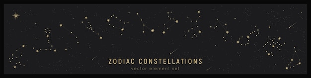 Set of zodiac constellation