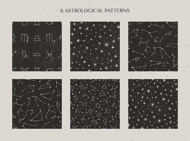 Set zodiac constellations and astrology signs seamless pattern on the starry black background. vector cosmic backdrops.