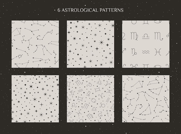Set of zodiac constellations and astrology signs seamless pattern on the white background in minimal trendy style. vector cosmic backdrops. horoscope symbols textures.