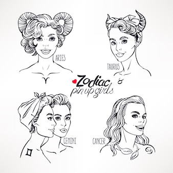 Set of zodiac signs as a girls in the pin-up style. hand-drawn illustration