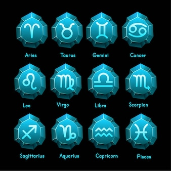 Set of zodiac signs icons. aries, taurus, gemini,  cancer,  leo, virgo,  libra, scorpio, sagittarius, aquarius, capricorn, pisces. vector illustration in cartoon line style.