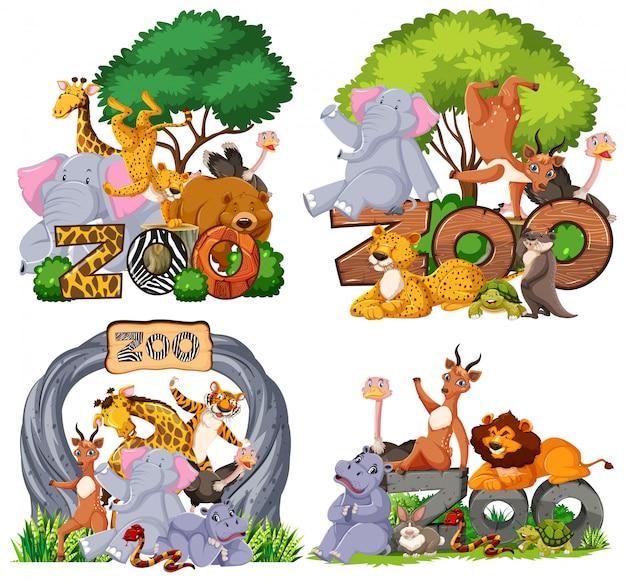 Set di animali dello zoo con banner