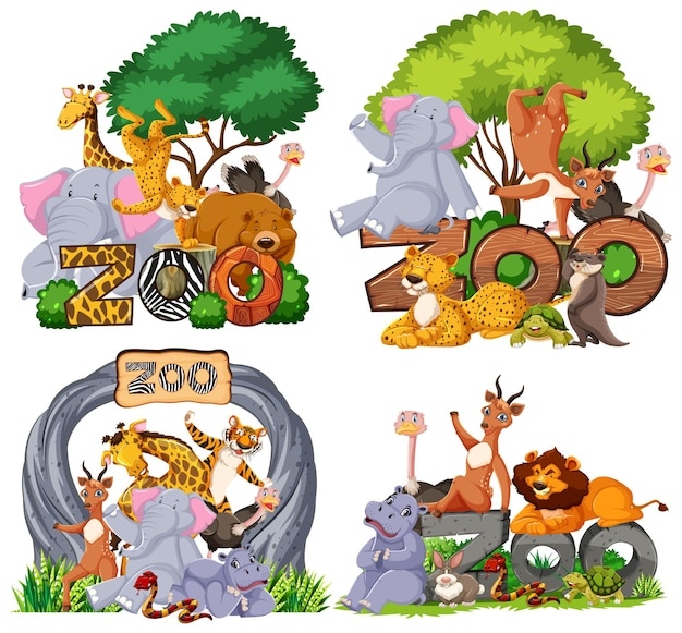 Set of zoo animals with banner