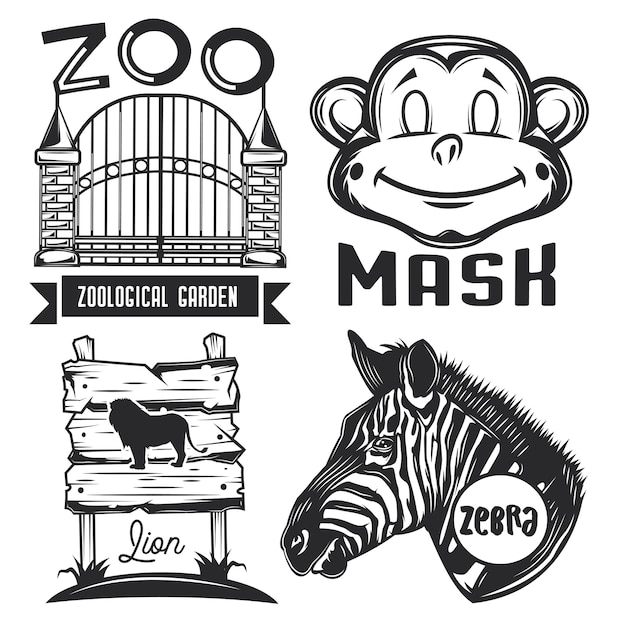 Set of zoo emblems, labels, badges, logos.