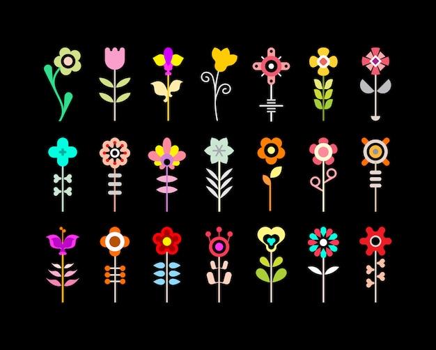 Цветок векторный икона set