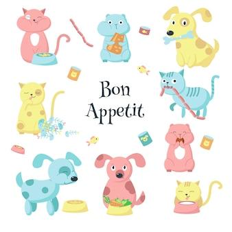 Симпатичные домашние животные едят еду векторный икона set