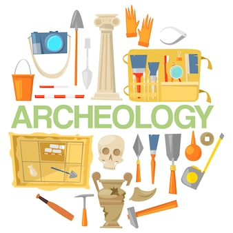 Археология икона set баннер вектор. археологические инструменты, древние артефакты