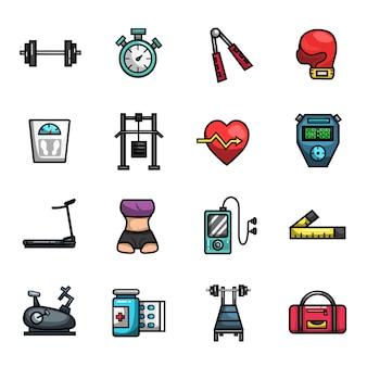 Фитнес тренажерный зал диета тренировки элементы полный цвет икона set