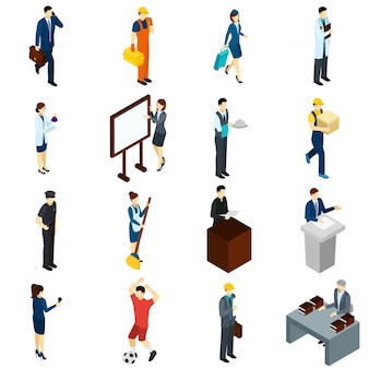 Профессиональные люди работают изометрические иконы set