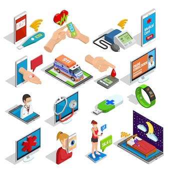 Цифровая медицина изометрические иконы set