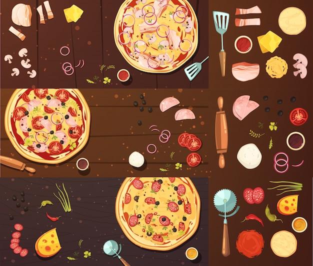 Приготовление пиццы баннеры set