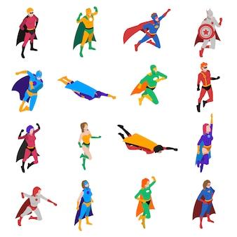 Супергерой популярный персонаж изометрические иконы set