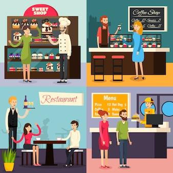 Кафе работник плоский икона set