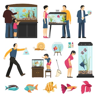 Люди и аквариумы set