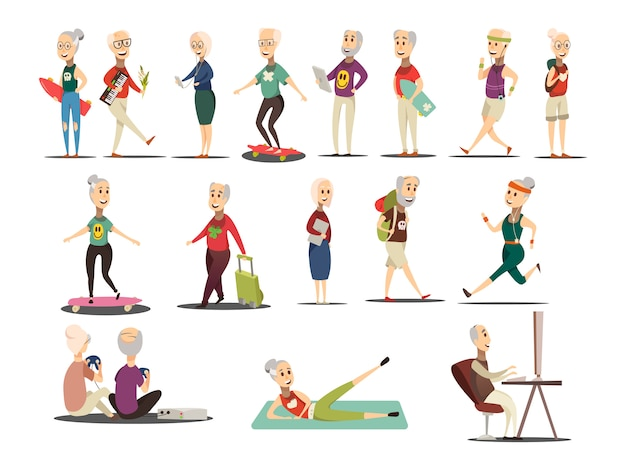 Пожилые люди концепции иконы set
