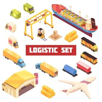 Логистический транспорт изометрические элементы set