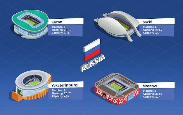 Футбольный стадион изометрические set