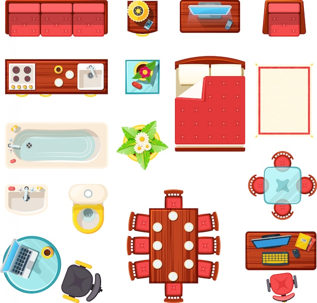 Домашняя мебель вид сверху set