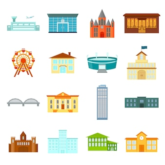 Здание мультфильм векторный икона set. векторная иллюстрация здание.