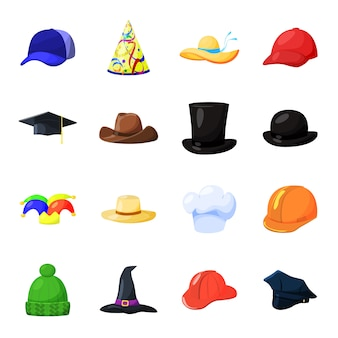 Шляпа мультфильм векторный икона set. векторная иллюстрация моды шляпа.